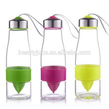 Creative Gifts Fashion Lemon Glass Cup Manual Juicer Fruit Bottles 650ml Travel Sport Water Bottle