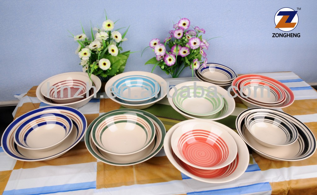 wholesale 6'' 7'' 8'' 9'' inch hand painted colorful ceramic soup bowl