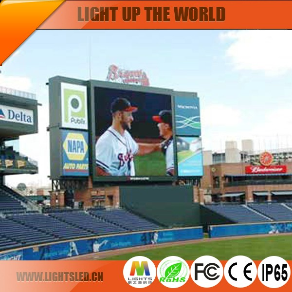 Outdoor LED Banner Display LED Clock Time Date Temperature Sign ,Football Stadium Perimeter LED Screen Pixel Pitch 6mm