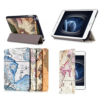 Map Pattern Leather Case tri-folding smart cover for apple iPad Mini 4, for ipad mini tablet smart cover with sleep function