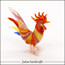 Decoration glass animal sculpture cock french gallic rooster