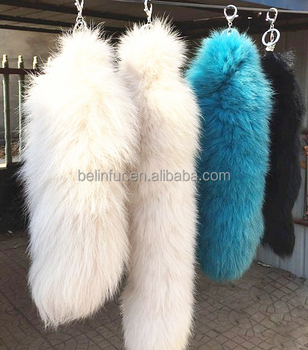 Wholesale luxury fox tail fur pendant/ charm keychains