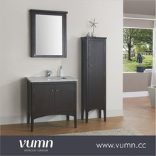 Single Bathroom Vanity Cabinet Set in Espresso Modern Bathroom Mirror Vanity