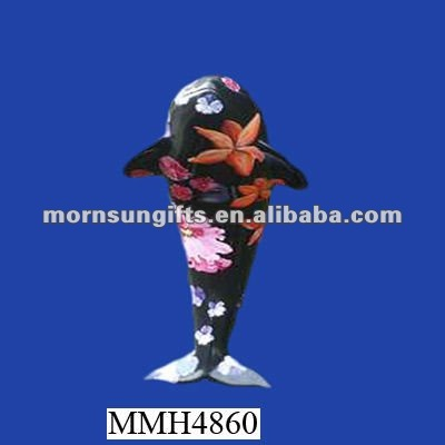 Standing colored resin killer whale