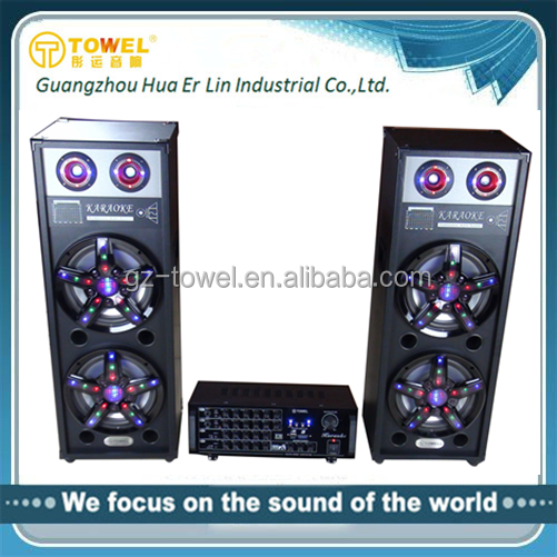 2.0 Active Professional Karaoke Speaker With LED Lighting DJ Speaker Box Wiith Amplifier