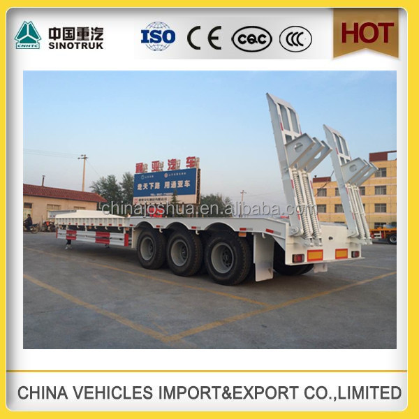 CHINA SINOTRUCK high quality low 3 trailer axle flat bed trailer for 1x40ft container