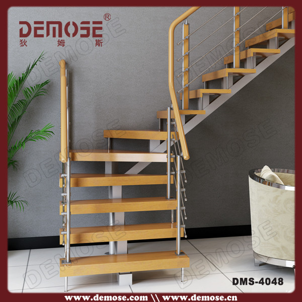 customized single stringer indoor timber tread straight stair