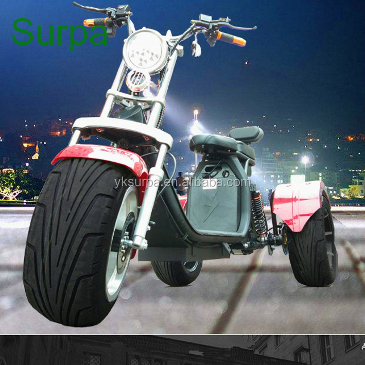 2018 new two battery 800w 1000w 12ah 20ah aluminium wheel two seat 3 wheel electtric trike scooter/big power motorcycle/ car