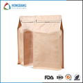 Custom zipper bag stand up kraft paper square bottom bag for tea