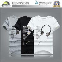 Plain wholesale leather sleeves printed t-shirt/ cotton t-shirt/ custom t-shirt