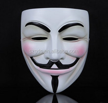 Factory supply white /bronze Movie Guy Fawkes resin v for vendetta anonymous mask halloween resin mask in stock