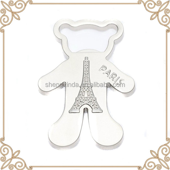 creative special shape paris bear bottle opener wedding giveaway gift