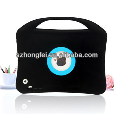 New design! Shockproof double color silicone carry case handle for ipad mini