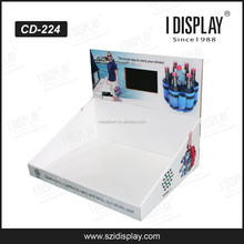 LCD Screen PDQ Corrugated Cardboard Counter Display For Drinks Holding Strip