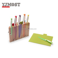 5pcs non-stick color coating knife set with Acrylic & bamboo stand and plastic cutting board