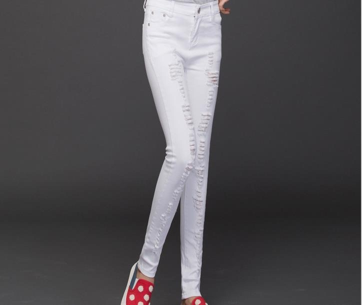 Summer women cropped jeans pants ladies ripped jeans