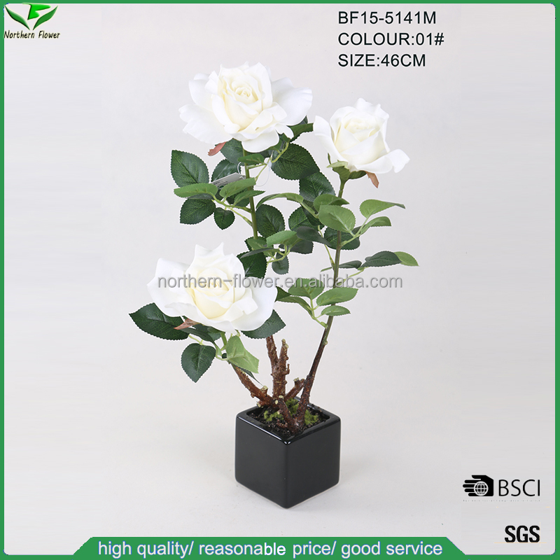 46cm 3 heads artificial plants,wholesale China silk artificial rose tree with black square pot