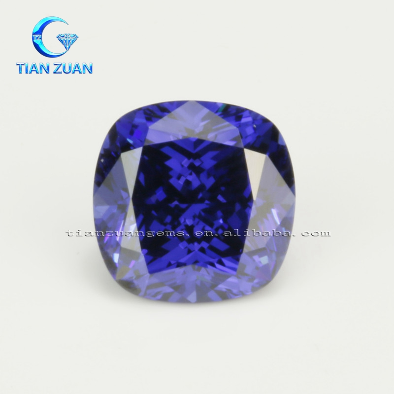 The cushion shape diamond cut tanzanite blue CZ loose stone