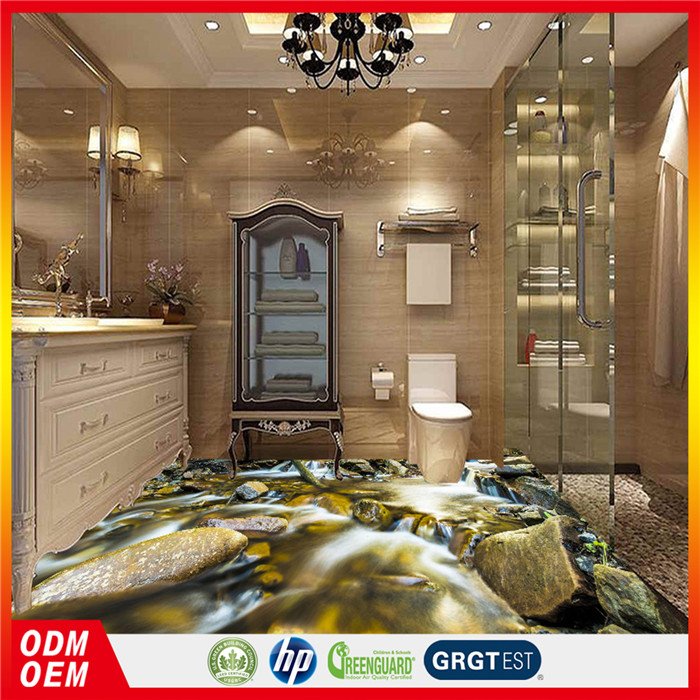 new designs 3D stone floor stickers Small river floor murals for bathroom tiles