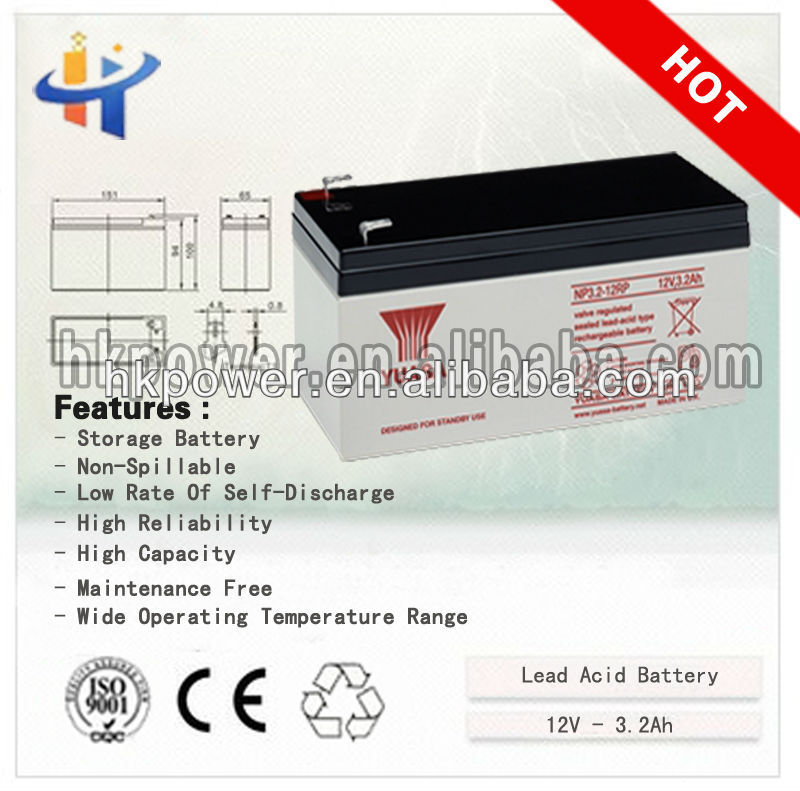 12v3.2ah sealed lead acid rechargeable storage battery
