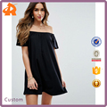 custom make off shoulder plain black woman dress,hot sale dress manufacturer in china