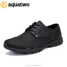 China Wholesale Aquatwo Brand Leather Upper Formal Brogues Shoes for Men