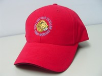 Famous plain red color with metal buckle closure at backing and embroidered 2D logo at front of 6 panels popular sports caps