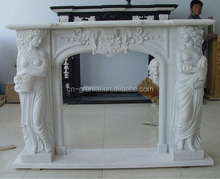 Italian style antique indoor freestanding travertine fireplace mantel with good quality