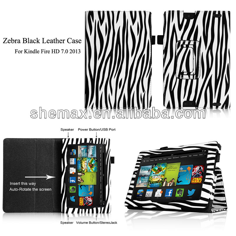 Zebra Leather Kid Proof Case For Kindle Fire HD 7.0 2013