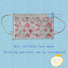 disposable children/kids face mask with cartoon patterns printed