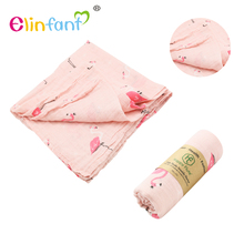 Elinfant Custom printed Amazon Hot selling 100% organic cotton muslin baby swaddle blanket