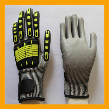 Grey PU Coated Level 5 TPR Cut Resistant Impact Gloves Mechanic Gloves
