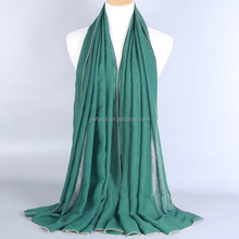 Classic Fashion Muslim Nail Gold Pearls Edges Hijab Solid Color Long Shawl Scarves /Pashmina