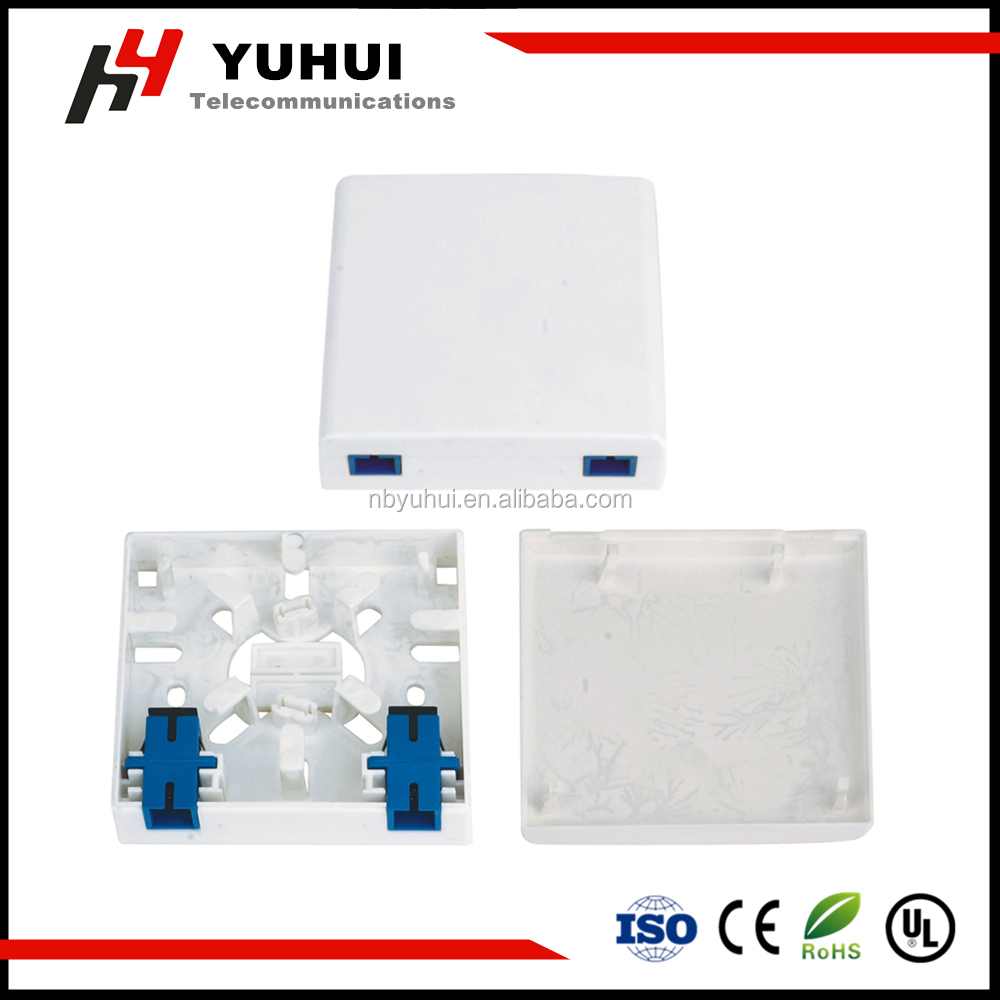 Fiber optic mounting box, fiber optic outlet box, FTTH wall outlet