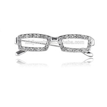 New Arrival Zinc Alloy Rhodium Plated Crystal Rhinestones Reading Glasses Frame Brooch Pin