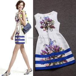 2014 Designer western style elegant flower printed sleeveless slim one piece dress for fashion women C17161
