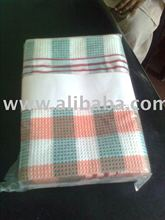 Red and Green Stripe Waffle Kitchen Towel