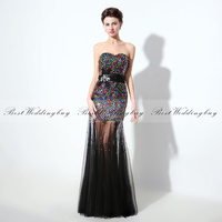 Bling Bling Sexy Colorful Sequins Cocktail Dress Strapless Tulle Cocktail Dresses