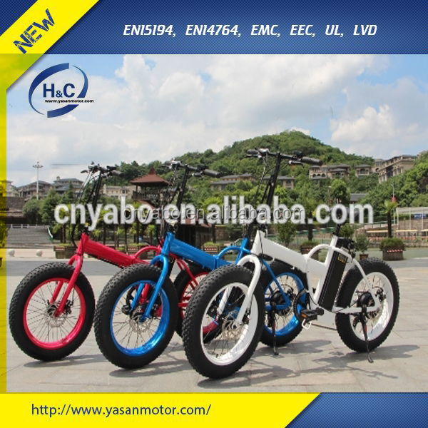 "Colorful 300w/500w 20""*4.125 Fat tire Folding MTB E bike made in China"