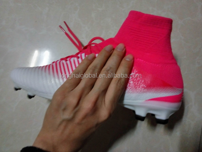 2017 new style mens brand mes super V football soccer shoes cleats wholesale high quality sport white pink football soccer boots