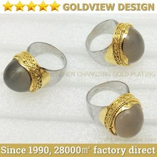 With zircon gold plated stainless steel jewelry rings/wedding ring set for couple