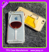 JESOY Hot sale Red Wine Cup Liquid Transparent Case Cover For Apple iPhone 4 4S 5 5S 6 6S 6 Plus Phone Cases Back Covers