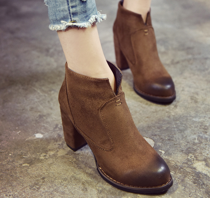 women fashion <strong>boots</strong> 2018 fashion lady Korean high heel short tube suede <strong>boots</strong>