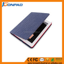 PU leather smart cover cotton cloth tablet case cover smart cover case for iPad Air 2 ,smart case for Ipad2