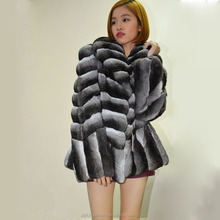 Imported luxury warm design women chinchilla leather fur jackets