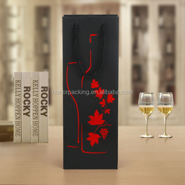 New Products Luxury Black Paper Card Wine Single Bottle Alcohol Champagne Beverage Carry Bag
