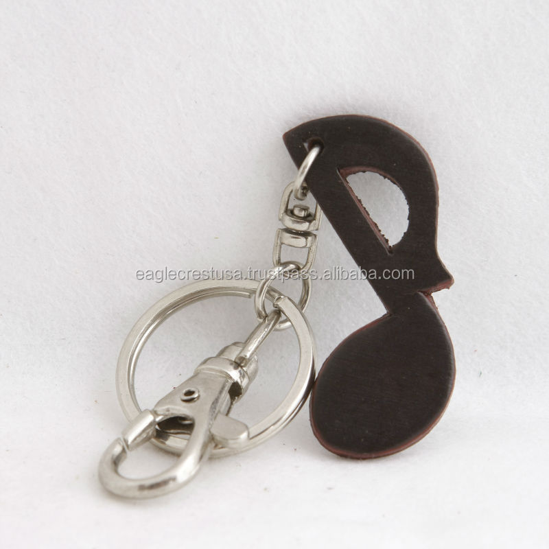 Handmade Leather Music Note Key Chain