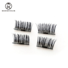 4 pieces no glue reusable upgrade 3d dual mink micro-magnetic false eyelashes