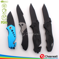 Black stainless steel blade outdoor camping folding pocket knife