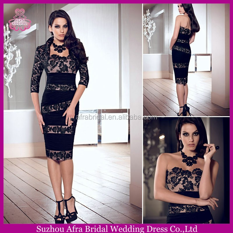 QQ381 elegant lace mother evening dresses black fall mother of the bride dress with jacket